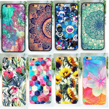 Top seling Shell for apple iphone 5 5s 5c 6 6 plus 6 s splus Back Case print cover mandala flower Hard Plastic phone cases