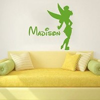 Wall Decals Custom Name Baby Personalized Name Nursery Kids Girls Disney Tinkerbell Fairy Wall Vinyl Decal Stickers Bedroom Murals