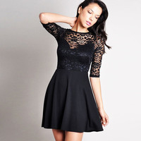 Black Lace Keyhole Cutout Back Mini Skater Dress