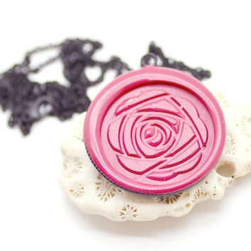 Customized Peony Wax Seal Necklace - 26 Colors Available