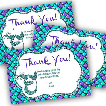 Mermaid Thank You Card - Mermaid Baby Shower Thank You Tags - Baby Girl Thank You Cards - Under The Sea Shower - Mermaid Party Favor Tags