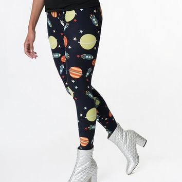 Navy Blue & Space Print High Waist Stretch Leggings