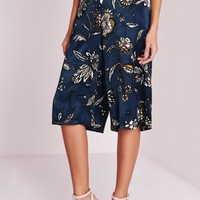 Missguided - Floral Print Silky Culottes Navy