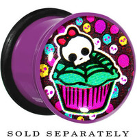 "1/2"" Acrylic Single Flare Skull Cupcake Plug 