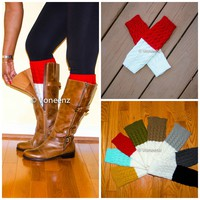 Red & Ivory Reversible Knitted Boot Cuffs, Two Tone Boot Topper, Holiday Stocking Stuffer