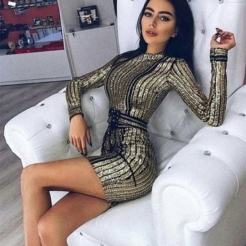 Fashion Stripe Sequin Embroidery Long Sleeve Bodycon Mini Dress