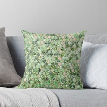 'Shiny Green Mermaid Scales pattern' Throw Pillow by UtArt