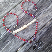 Red Beaded Python Vertebrae Bone Necklace,Real animal Bone jewelry,Ladies Vertebrae Spine Necklace,Shamans Wiccan Pagan Tribal