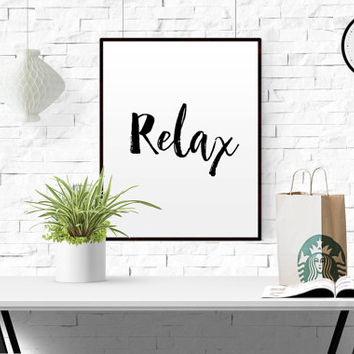 Printable Relax Poster Typography poster Art Poster Inspirational quote Relax Quote Let's stay home yoga quote relax printable PRINTABLE ART