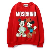 Moschino & Mickey Mouse New fashion letter mouse print couple long sleeve top sweater Red