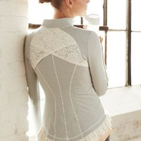 Pure + Good Lined Lace Jacket Grey Motif