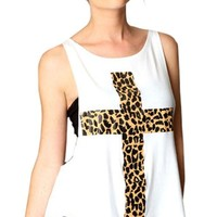 Sheinside Women's White Leopard Cross Print Vest with Camisole