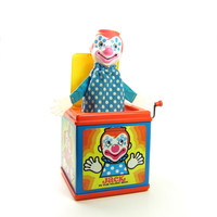 Jack In The Music Box Vintage Wind Up Toy 1976 Mattel - Pop Goes the Weasel with Clown Puppet