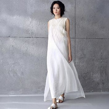 Summer Style Solid White Silk Embroidery Chiffon Sleeveless Wome.  2300796800605383 Dresses New ... af7ab9c63f98