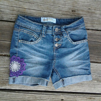 sz 8 Blue Jean Shorts with Purple Doily - Girls - Handmade by The Hippie Patch