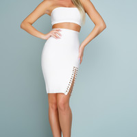 Lany Strapless Chain Bandage Set - White