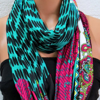 Aztec tribal patterns scarves,Chevron Scarf,infinity Scarf,Loop Scarf,Jersey  Scarf, Nomad Cowl.eternity Scarf, neon mint, pink, multicolor