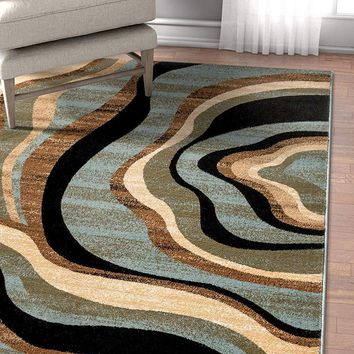 7032 Blue Abstract Contemporary Area Rugs