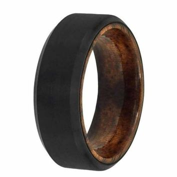 Men's Black Tungsten Wedding Band With Real African Sapele Wood Sleeve 6mm & 8mm