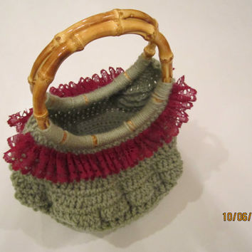 Green Crochet Purse - Bamboo Handle Handbag - Olive