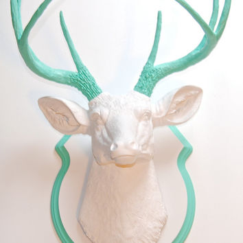 Deer Head - White with Aqua Antlers and Matching Shield Mount