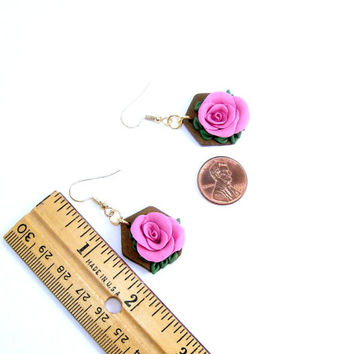 Polymer Clay Jewelry, Rose Floral Earrings, Pink Art Flower Earrings,Boho Rustic Dangle Earrings,Made Ready To Ship,Handmade Polymer Jewelry