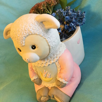 Lamb Planter Ceramic Baby Sheep Nursery Decor Newborn Shower Birth Gift Cute Pink White Blue Lamb Small Baby Items Holder Baby Room Decor