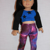 blue crop top with black stars, galaxy print leggings,18 inch doll clothes, American Girl, maplelea