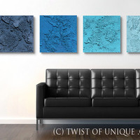 Industrial Abstract Painting, CUSTOM 4 square (15 Inch x 15 Inch)  Abstract Wall Art,-  Dark blue, indigo, blue turquoise, ice blue