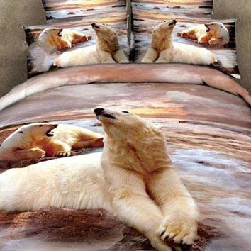 3D Polar Bears Printed Cotton Luxury 4-Piece Bedding Sets/Duvet Covers