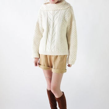 Vintage 70s Ivory Popcorn Knit Cowl Neck Fisherman Sweater | M