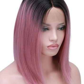 Short Bob Cut Wigs Ombre Pink Two Tone Color Silk Straight Lace Front Synthetic Wigs Black Roots Heat Resistant For Women