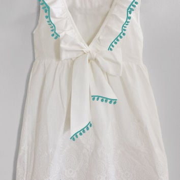 Boho Girl's Clothing Summer White Dress with peach/coral or aqua/turquoise Pompoms, Bow, Lace, Ruffles