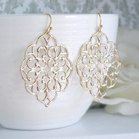 Romantic Large Moroccan Gold Filigree Earrings. Dangle Boho Chic Style Ear Jewelry. Bridesmaid Gift. Bridal Wedding Earrings