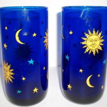 Libbey Cobalt Blue CELESTIAL Sun, Moon, Stars Glasses Set of 2 TUMBLERS