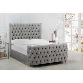 Silver Orchid Luts Linen Button-tufted Headboard Bed | Overstock.com Shopping - The Best Deals on Beds