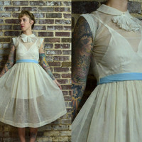 Vintage 1950's Beautiful White Swirled Sheer Ruffled Collar Cocktail Party Dress
