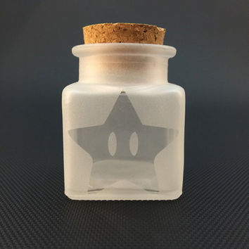 Etched Star Window Square Glass Airtight Cork Jar