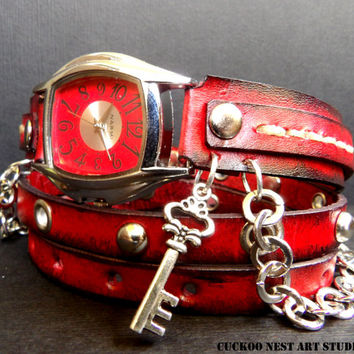 Vintage Wrap Leather Watch Ladies Wrist Watch with key charm, Red and black wrap around watch, Bracelet