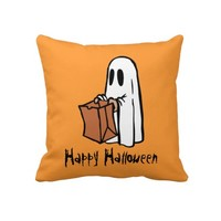 Cute Trick or Treat Ghost Orange Halloween Pillow