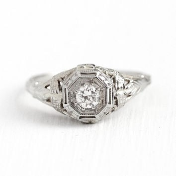 Filigree Engagement Ring - Vintage 18k White Gold Art Deco 1/4 CT Diamond Ring - 1920s Size 7 1/2 Antique Bridal Flower Etched Fine Jewelry