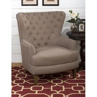 Jofran Oversized Wing Back Accent Chair With Antique Brass Nailheads And Heirloom Legs In Earth Fabric