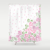 Garden Rose and Dots - Blush Shower Curtain by Lisa Argyropoulos