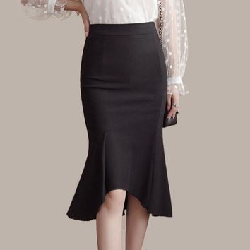 2017 women fishtail skirt splice asymmetric OL skirts