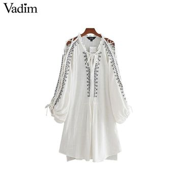 Vadim women sweet lace up geometric embroidery dress lantern sleeve V neck bow tie ladies summer casual dresses LT1977