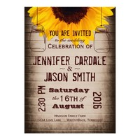 Rustic Sunflower Mason Jars Wedding Invitations
