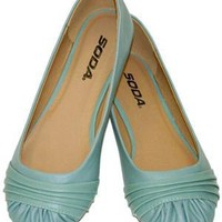 Goalie Turquoise Blue Ruched Vegan Ballerina Flats
