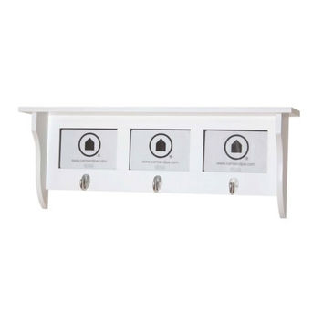 Country - Wall shelf, Coat rack with hooks, Picture Frame with 3 Fields,, white