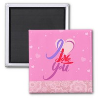 Colorful Pink Lace Valentine's Day Square Magnet