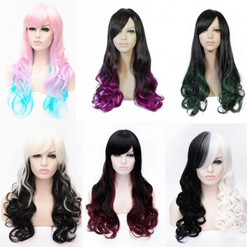 New hot high quality 70cm long wavy womens 9ombre colors synthetic hair wig,korean rose hairnet kanekalon fibre peruca wig